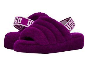 Women's Shoes UGG FLUFF YEAH SLIDE Sheepskin Slipper Sandal 1095119 BERRYLICIOUS