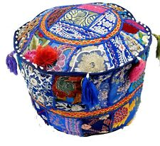 Vintage Patchwork Pouf Cover Cotton Footstool Ottoman Cover Seating Chair Pouffe