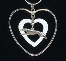 Double Hearts Pendant w Sp Greyhound or Whippet Dog, Sp snake chain necklace