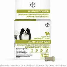 Bayer Quad Dewormer SMALL Dogs (2-25lbs) 4 Chewable Tablets