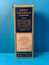 Pfeiffer Chemical Co Hobson's Creament Expectorant In Box Clear Pharmacy Bottle