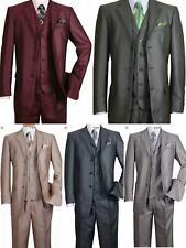 Men's Shark-skin Fashion Suit 3 button Edged Notch Lapel with Vest  M5909V