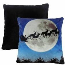 """FILLED FATHER CHRISTMAS SANTA FATHER SLEIGH REINDEERS SOFT VELVET CUSHION 17"""""""