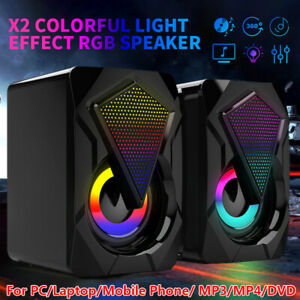 Surround Sound System LED PC Speakers Gaming Bass USB Wired for Laptop Computer
