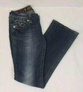 "Rock Revival ""Deborah Easy Boot"" Size 28 Denim Jeans Distress Bling"