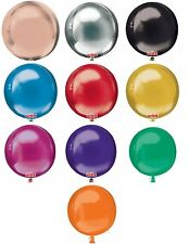 """Solid COLOUR Orbz 16"""" Sphere HELIUM Foil BALLOONS Wedding Birthday PARTY Balloon"""