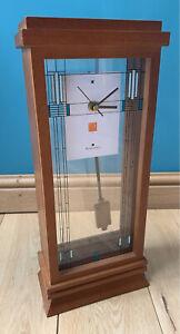 "Frank Lloyd Wright Bulova Quartz Walnut Mantle Pendulum Clock Battery 16"" x 7"""