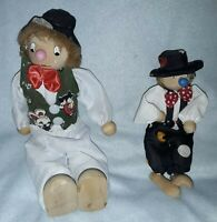 Vintage and collectable wooden Clown Puppet  Marionette bundle of two