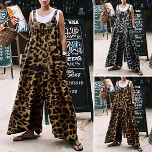 Women Leopard Jumpsuits Oversized Loose Playsuits Wide Leg Pant Casual Culottes