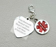 Men Women Medical Alert ID Heart Conditions Engraved Charm SOS Any Medical Info