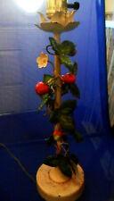 Antique Enameled Wrought Iron LAMP BASE w/ Leaves & Berries Raspberries, Flowers