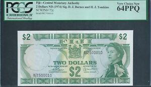 FIJI $2 1974 P72c very rare low no. 10 PCGS Very Choice New 64 PPQ