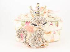 Rose Gold Fox Fashion Keychain Decoration Crystal Charm Cute Animal Gift 01333