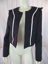 Chloe Blazer 36 Black Open Front Linen Viscose Shorty Cropped White Piping