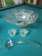 Punch bowl by LE Smith Glass Co.old mold by McKee Glass,1920s 12 CUPS, LADLE
