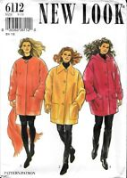 Vintage New Look Uncut Factory Folded Sewing Pattern # 6112 Coat Scarf Size 8-18