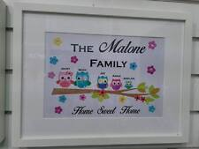 PERSONALISED FAMILY TREE UNFRAMED NAME PRINT OWLS BRANCH PARENTS KIDS