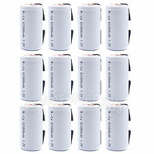 12 pcs SubC Sub C 2800mAh 1.2V NiCd Rechargeable Battery Cell with Tab White
