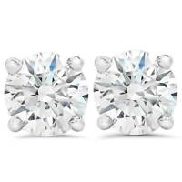 F VS 1.50ct Lab Grown Diamond Studs 14k White Gold Screw Backs