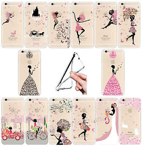 Ultra Thin Fashion Girl Pattern Clear Soft  Case For iPhone 4/5/6/7/7+ Samsung