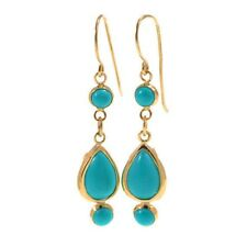 14K Solid Gold Handmade Turquoise Gemstone Long Earrings Made by Adita Gold