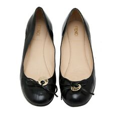 Auth FENDI Black Leather Round Toe Flats Ballerina Shoes With Logo Charm US 6.5