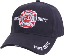 Navy Blue Deluxe Fire Department Low Profile Baseball Hat Cap