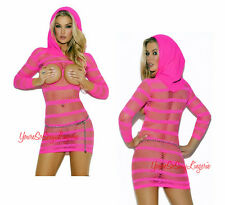 Neon Pink HOODED MINI DRESS Power Fishnet OPEN CUP 3/4 SLEEVE Spandex Vivace OS