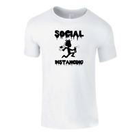 Social Distancing Mens Printed T-shirts Casual Summer Short Sleeve Cool Tee Top