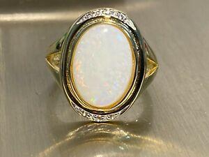 925 Silber Ring  XXL Äthiopischer Opal 9x13 mm  & Weißtopase  Gr 17