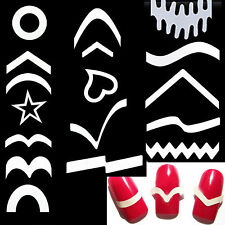 12Pcs French Nail Art Tips Manicure Guides Stickers Stencil Form Fringe Strips