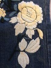 Hippie Jeans Drew By The Limited Sz 10 35/26 35x26 Flower Embroidery Lt. Stretch