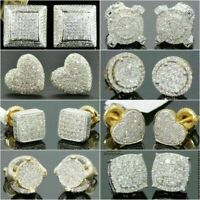 UK Womens Crystal Square Stone Stud Earrings 925 Sterling Silver Jewellery Gifts