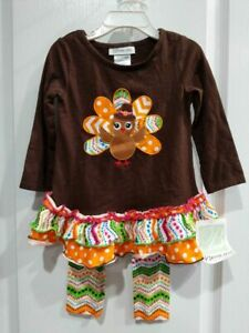 Bonnie Jean Girls Thanksgiving Pilgrim Turkey Applique Legging Set 2T 3T 4T