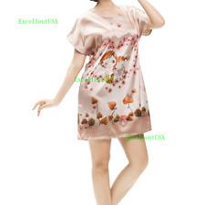 New Women Pajamas Set Sleepwear Short Sleeve Nightgown Lounge Satin Top Lingerie