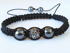 Shamballa Bracelet Black AB Crystal Disco Ball  Adjustable High Quality SB7