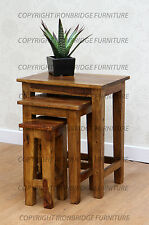 Solid Indian Rosewood Honey Sheesham Large Tall Nest of 3 Side Tables  IBF-010