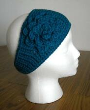 Beautiful Peacock Blue Adult Handmade Acrylic Crochet Flower Headband