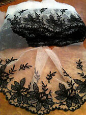 """VINTAGE 5"""" NETTING USA Embroidered OFF WHITE BLACK 1yd"""