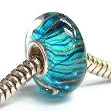 Sterling Silver Murano Flower Turquoise Blue Glass European Bead Charm PB0542W