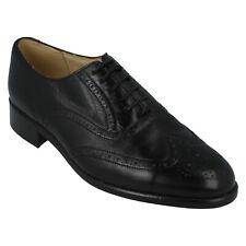 Para Hombre Grenson Completa Inteligente Cuero Con Cordones Formal Zapatos Brogue de fijación-Negro
