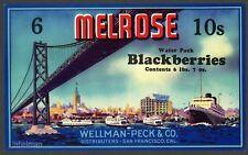 MELROSE, San Francisco Bay Bridge, Ferry Building *AN ORIGINAL TIN CAN LABEL*