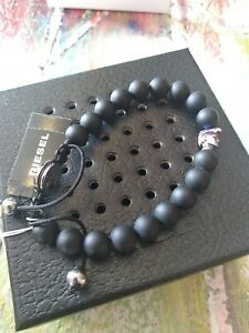 "New Diesel Matte Black ""Only the Brave"" Agate Icon Beaded Bracelet DX1271873"