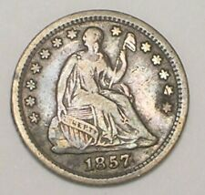 1857 O Seated Liberty Half 1/2 Dime 5 Cents Silver Coin F Bent