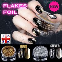 NAIL FLAKES Gold Silver Glitter Aluminum Mirror Effect Powders Sequins Chrome uk