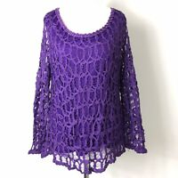Gina Bacconi Purple Long Sleeve Tapework Net Overlay Occassion Party Top 14/16UK
