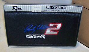 RICO #2 RUSTY WALLACE PENSKE NASCAR LEATHER CHECKBOOK COVER WALLET BLACK NIB
