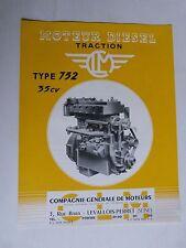prospectus moteur fixe diesel traction CLM type 752  35cv