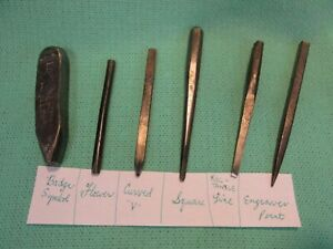 vintage 1940 Wheelock stamps punch engraving tools silversmith repousse chasing