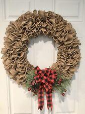 Burlap Wreath Farmhouse Rustic Shabby Chic Christmas Red & Black Buffalo Check